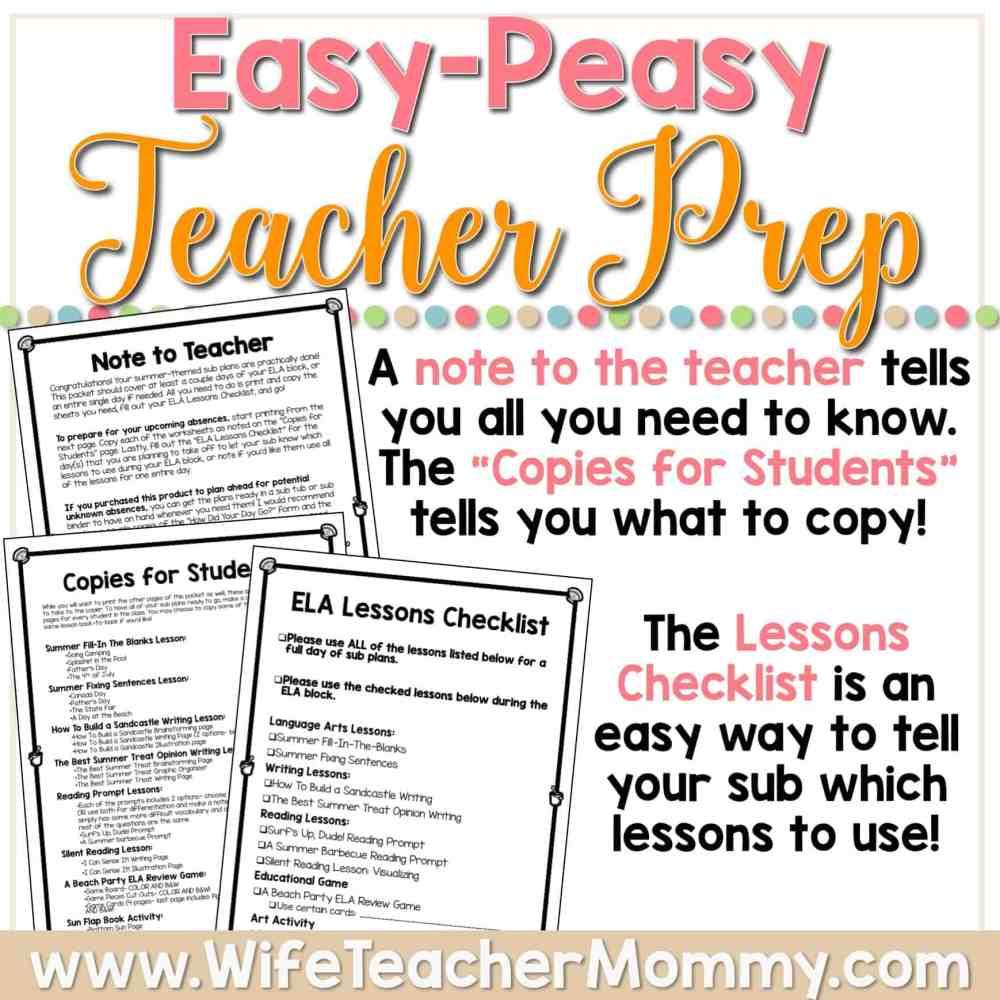 medium resolution of Summer Sub Plans for 3rd Grade \u0026 4th Grade (ELA) - Wife Teacher Mommy