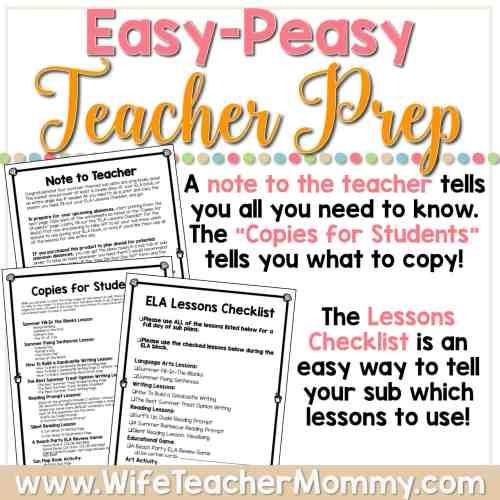 small resolution of Summer Sub Plans for 3rd Grade \u0026 4th Grade (ELA) - Wife Teacher Mommy