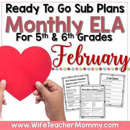 small resolution of February Sub Plans for 5th Grade \u0026 6th Grade - ELA - Wife Teacher Mommy