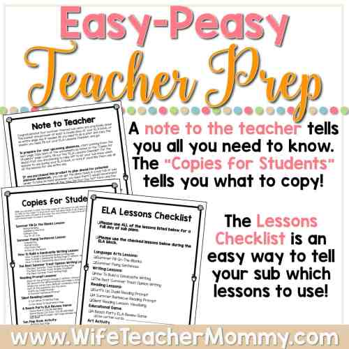 small resolution of Summer Sub Plans for 5th Grade \u0026 6th Grade (ELA) - Wife Teacher Mommy