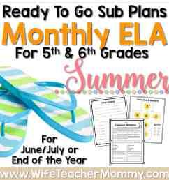 Summer Sub Plans for 5th Grade \u0026 6th Grade (ELA) - Wife Teacher Mommy [ 1738 x 1738 Pixel ]