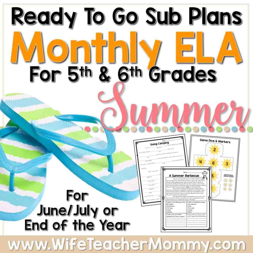 medium resolution of Summer Sub Plans for 5th Grade \u0026 6th Grade (ELA) - Wife Teacher Mommy