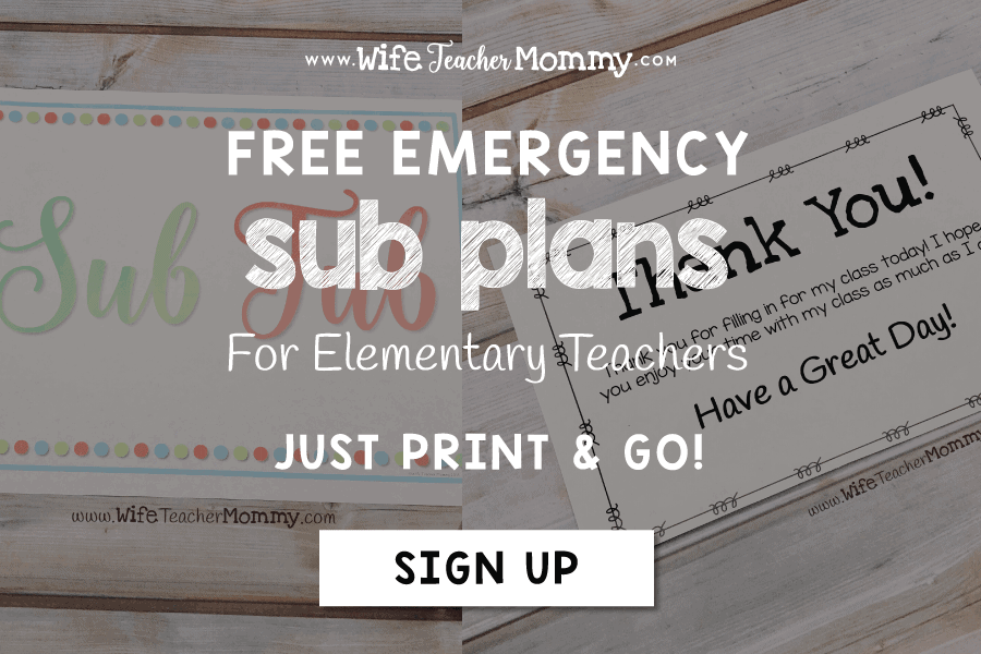 Be ready at a moment's notice with emergency sub plans! Get started for FREE with these easy prep resources, including editable binder cover and forms, sub punch cards for student behavior, thank you cards to leave for the sub, and lesson plans. There are lesson plans included for pre-k, kindergarten, 1st grade, 2nd grade, 3rd grade, 4th grade, 5th grade, and 6th grade. Each grade level includes language arts, math, art, and a brain break! For guest & relief teachers #subplans #substitute