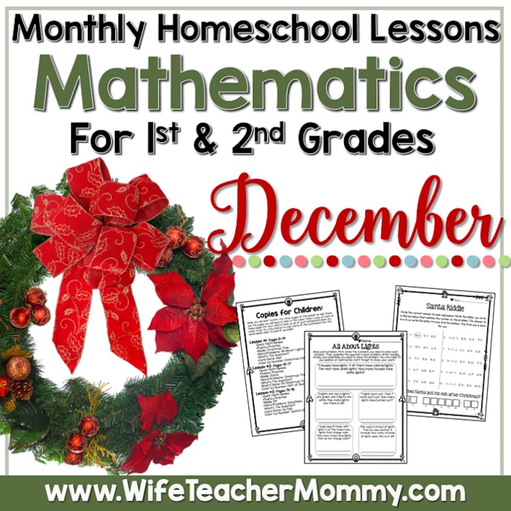 hight resolution of December Homeschool Lessons for 1st Grade and 2nd Grade Math - Wife Teacher  Mommy