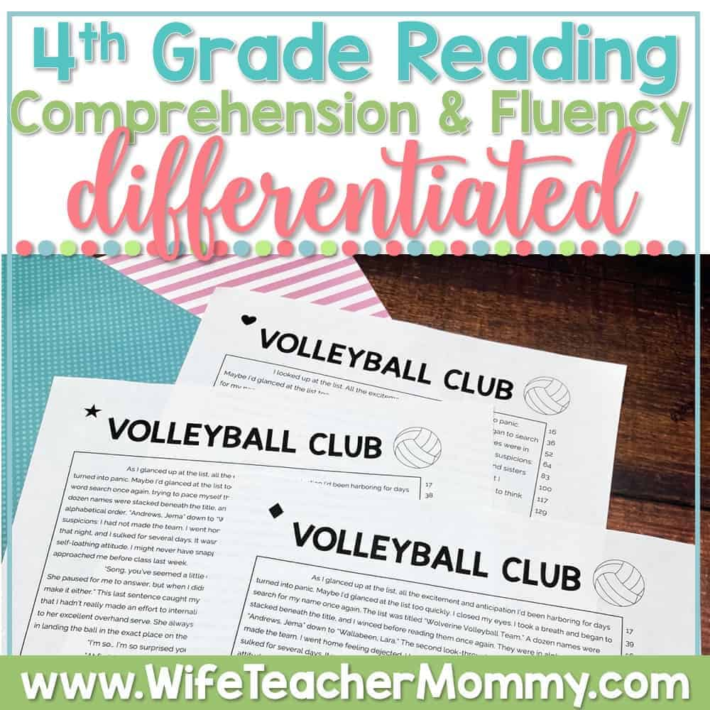 hight resolution of K-6 Differentiated Reading Comprehension and Fluency PRINTABLE BUNDLE -  Wife Teacher Mommy