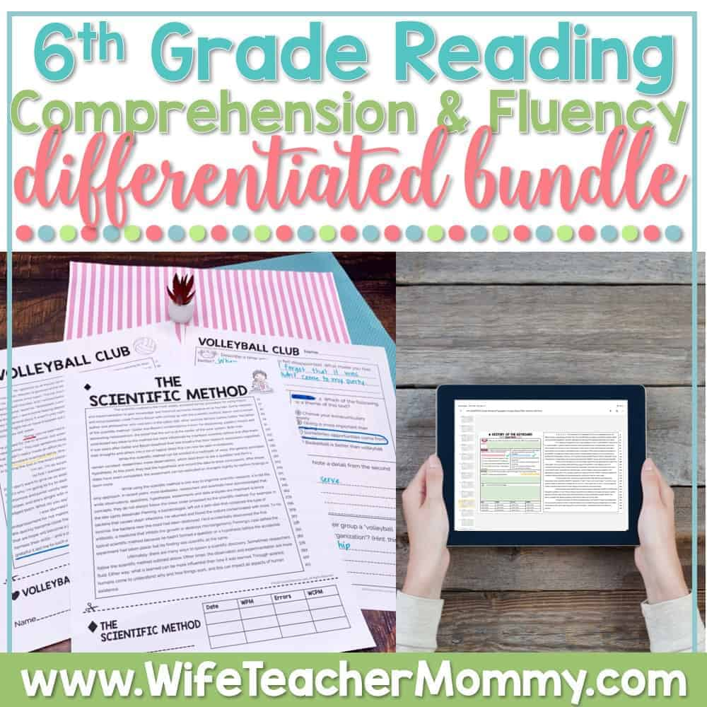 medium resolution of 6th Grade Differentiated Reading Comprehension and Fluency GOOGLE +  PRINTABLE - Wife Teacher Mommy