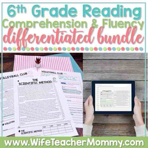 small resolution of 6th Grade Differentiated Reading Comprehension and Fluency GOOGLE +  PRINTABLE - Wife Teacher Mommy