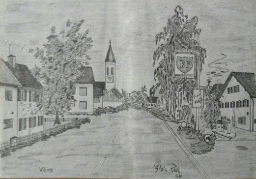 Auf dem Gemälde von Alois Rösl ist rechts die Tankstelle der Firma Eimer zu sehen