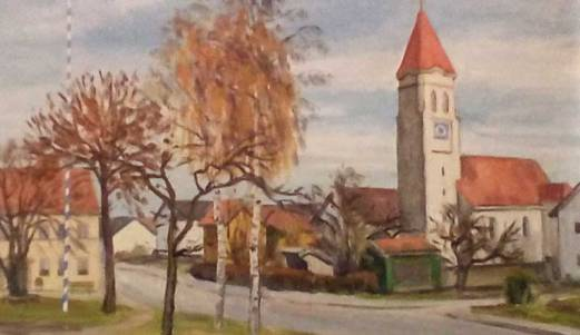 Bild der Wiflinger Kirche   hängt in der ehem. Wirtschaft Holzer