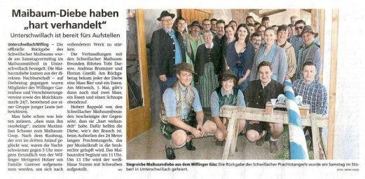 Zeitungsartikel im Münchner Merkur 29. April 2019