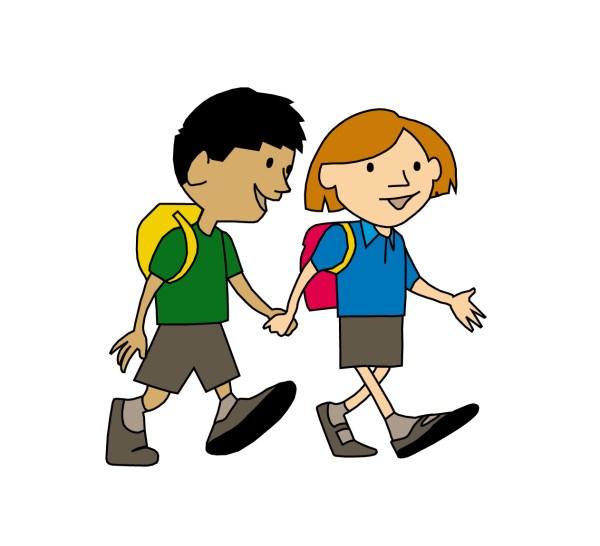 Cartoon Girl Walking to School