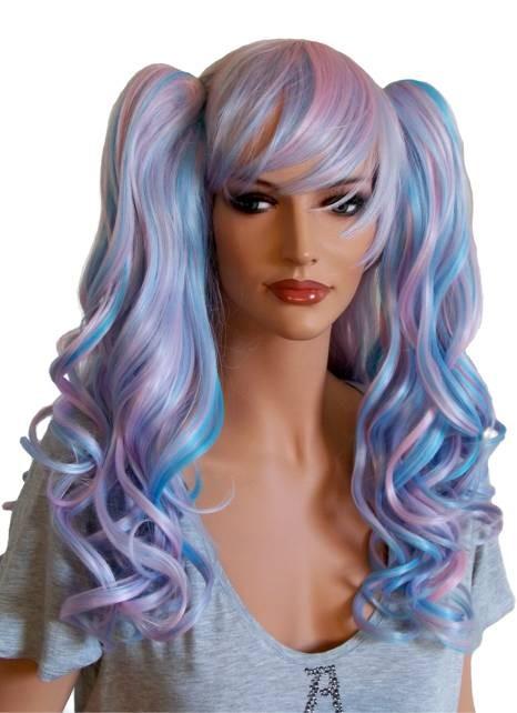 Manga Percke mit zwei Haarspangen lockiges Haar Rosa und
