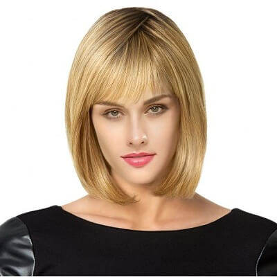 Blonde Wig with Short See Through Bangs