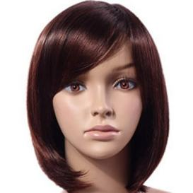 Fluffy Short and Straight Chestnut Wig with Bangs