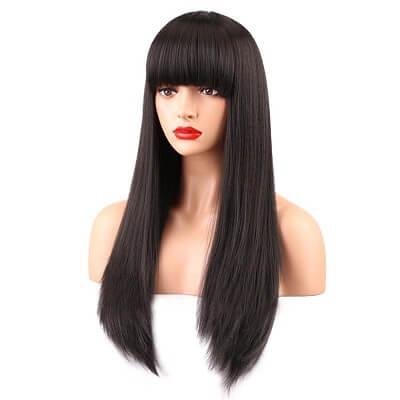 Long Straight Wig with Bangs
