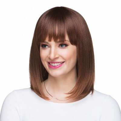 Shoulder Length Wig with Uneven Bangs