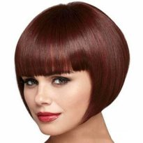 Wine Red Short Wig with Full Bangs