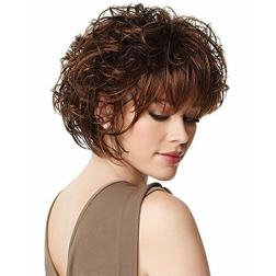 Brown Short Curly Wig for White Women