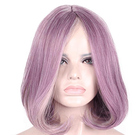 Short Purple Color Bob Wig for White Women