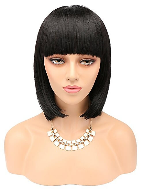 eNilecor Short Bob Wig with Flat Bangs