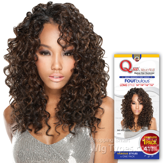 Milky Way Que Human Hair Blend Weave Fourbulous  DIO LONG 5PCS 14141616 Inch  WigTypescom