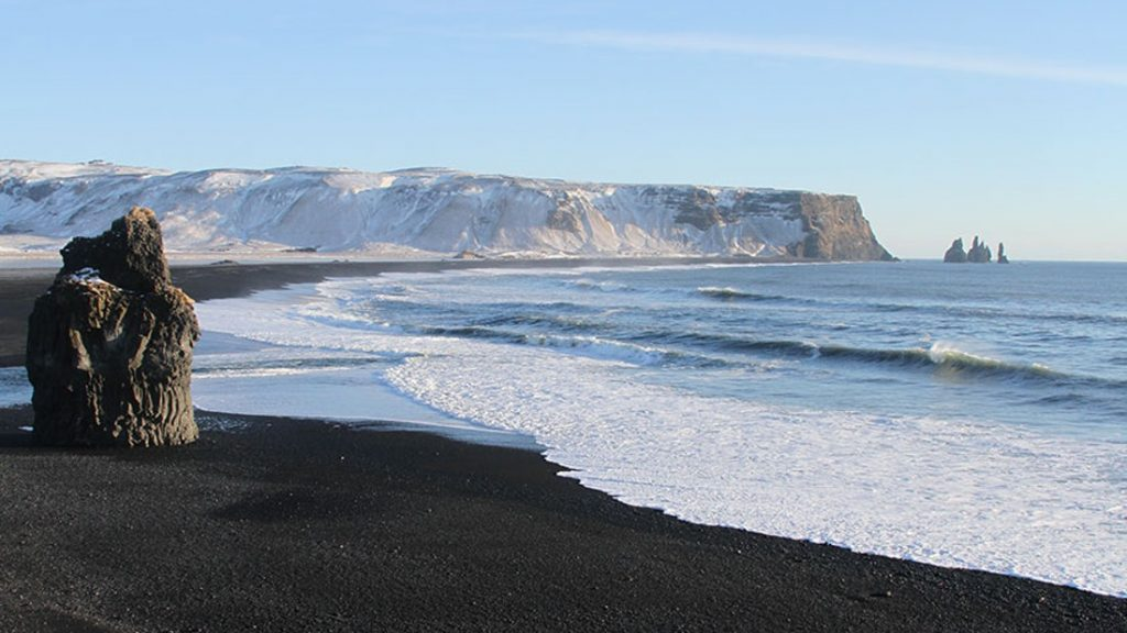 Reynisfjara black sand beach, view from Dyrhólaey cliffs