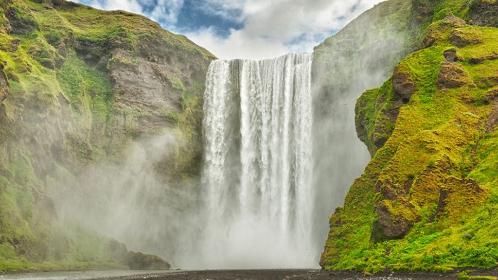 Skógafoss waterfall in the south coast Iceland private tour