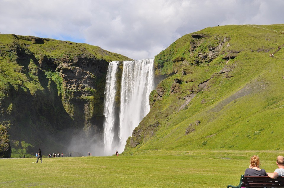 Skógafoss waterfall, powerful waterfall in south Iceland