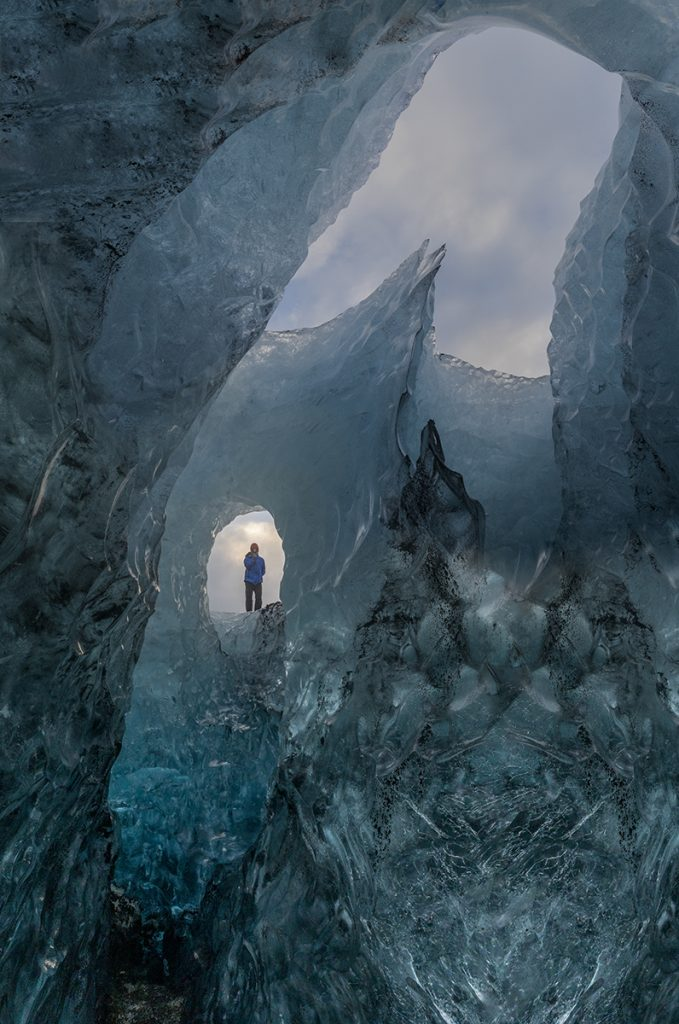 crystal blue ice cave in Vatnajokull glacier