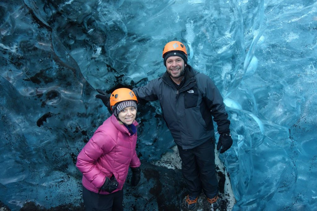 exploring the crystal blue ice cave in Vatnajokull glacier