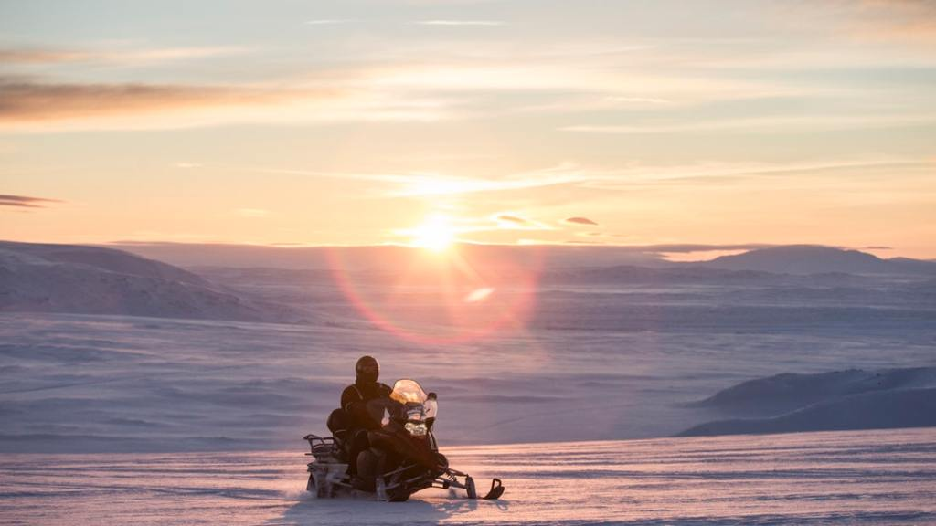 Snowmobile on Langjokull glacier