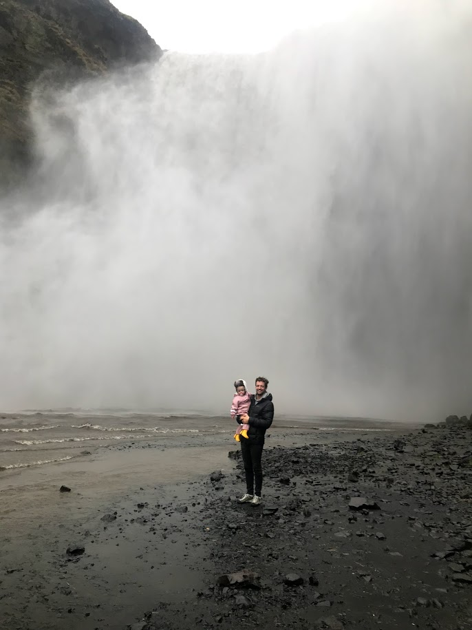 Skógafoss waterfall, family trip to Iceland