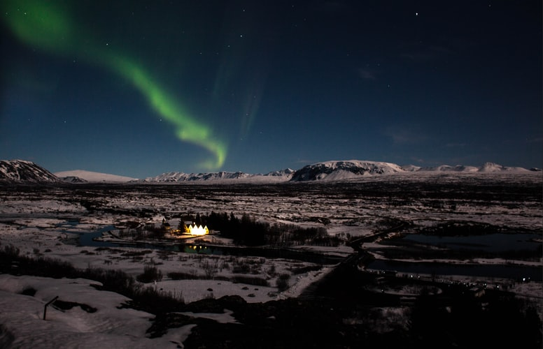 northern lights over Thingvellir National Park