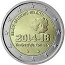 Belgien 2014 2 Euro Münze 100 Jahre Beginn Erster Weltkrieg