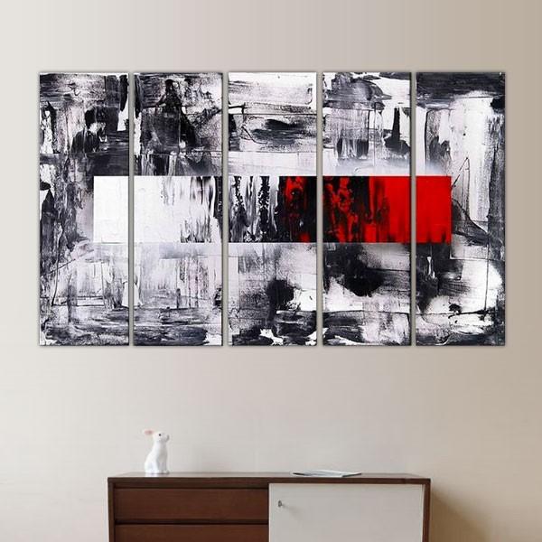 peinture graphique noir blanche et rouge