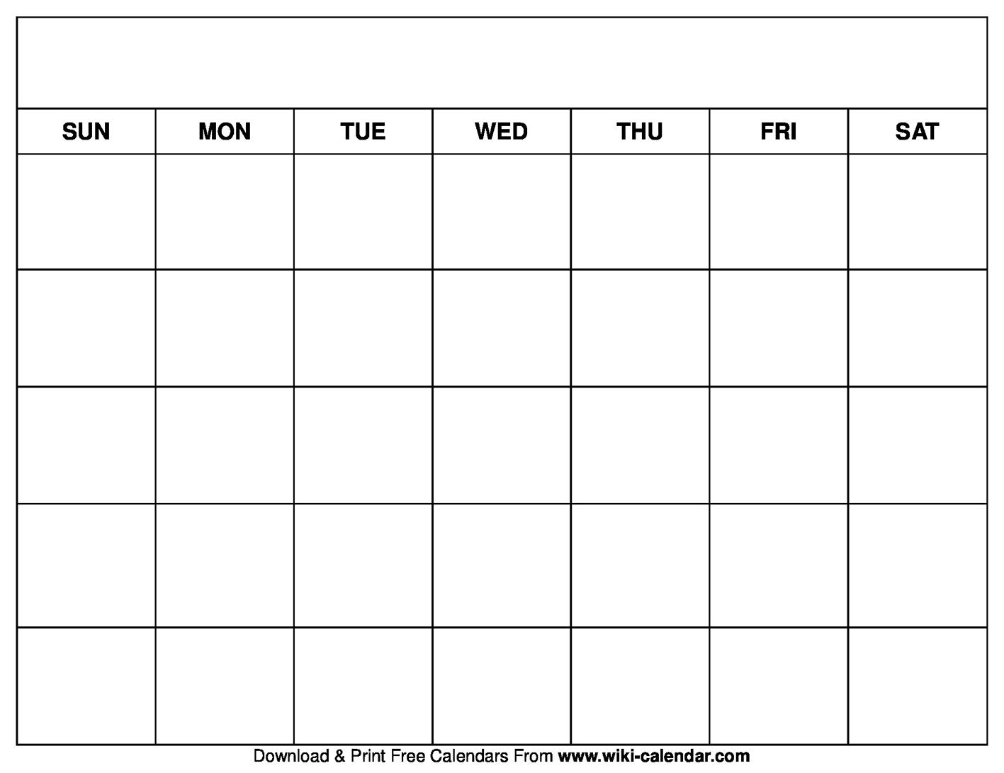 calendar blank printable
