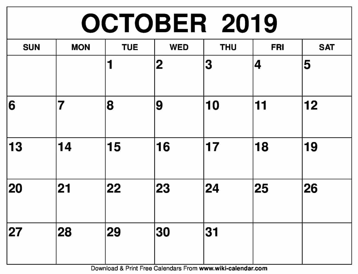 Blank October Calendar Printable On We Heart It