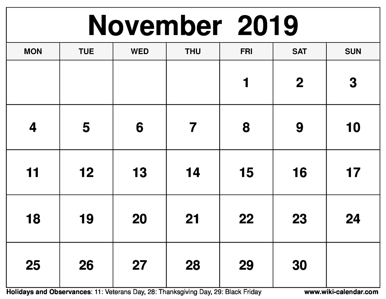 Printable November Calendars That Are Adaptable