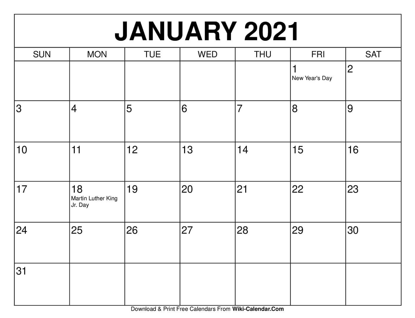 Sure, digital calendars are convenient — we can take them everyw. Free Printable January 2021 Calendars