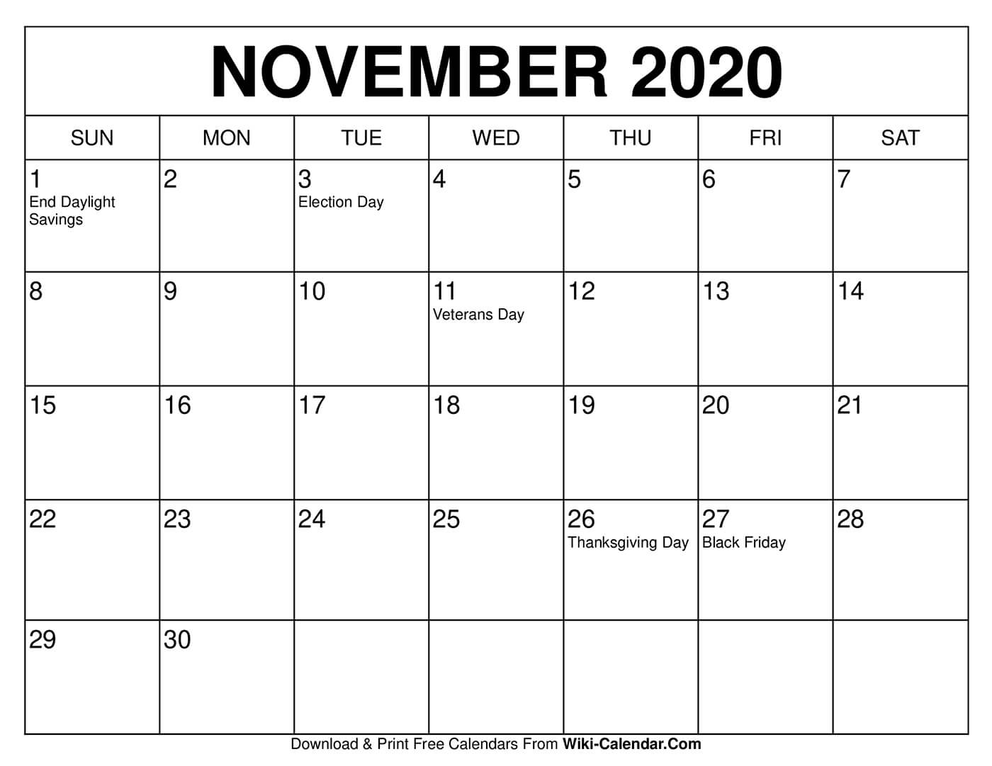 Miss one of these dates or deadlines in november, and it could cost you. Free Printable November 2020 Calendars