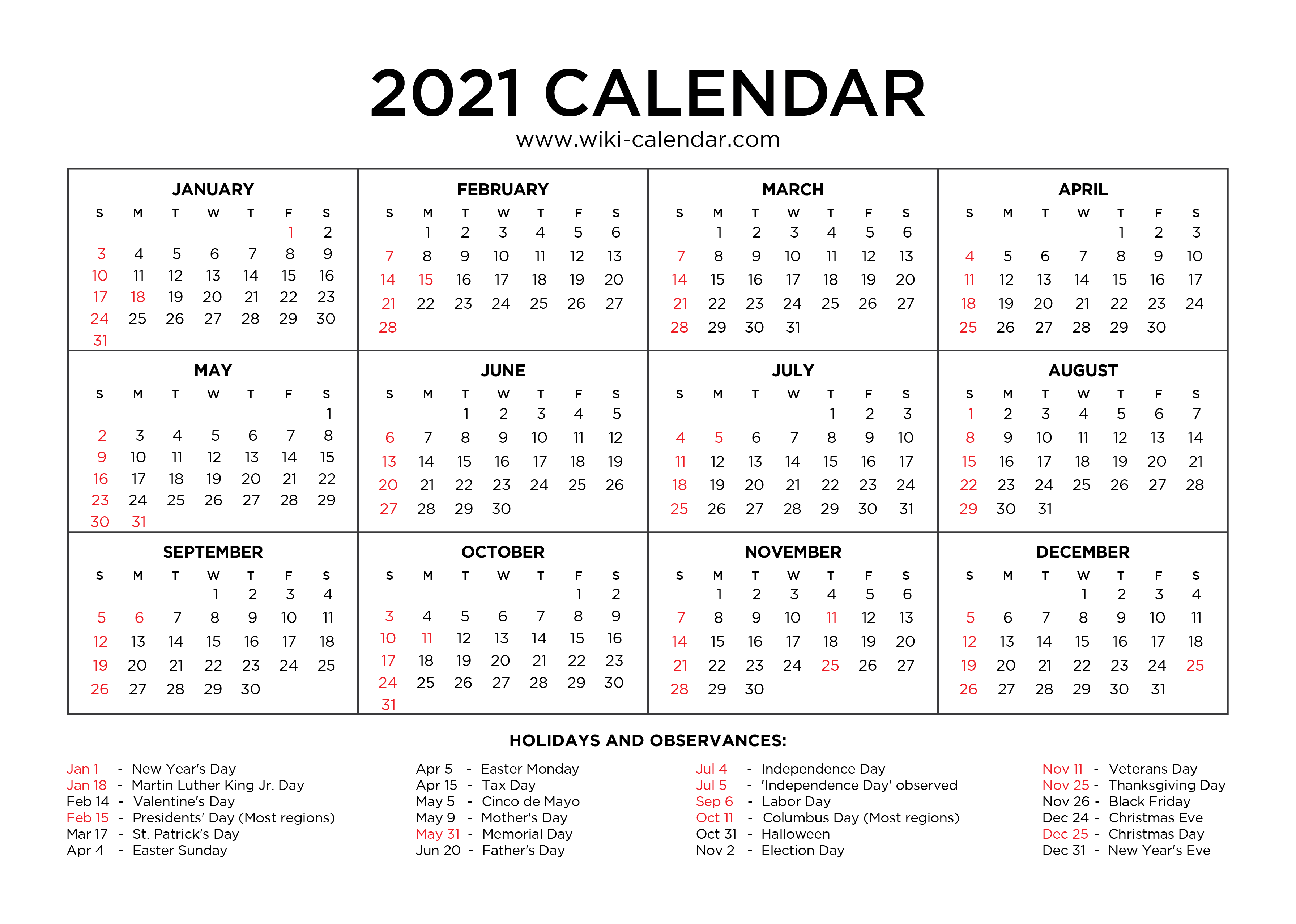 If you haven't done so already, it's time to update last year's custom photo calendar. Free Printable Year 2021 Calendar with Holidays