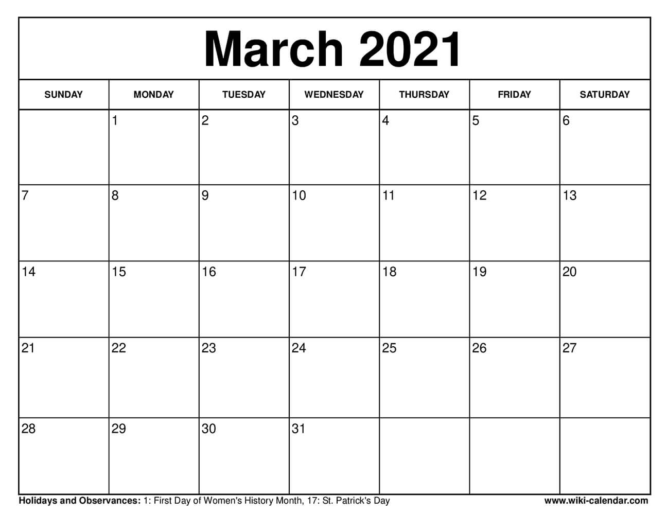 Free Printable March 2021 Calendar With Holidays Pdf ...