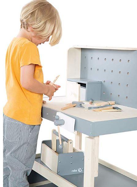 mesa de trabajo de madera para niños, banco de trabajo, bricolaje niños