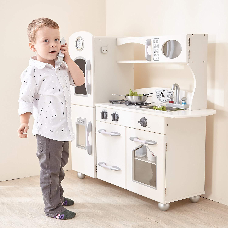 cocina de juguete de madera blanca