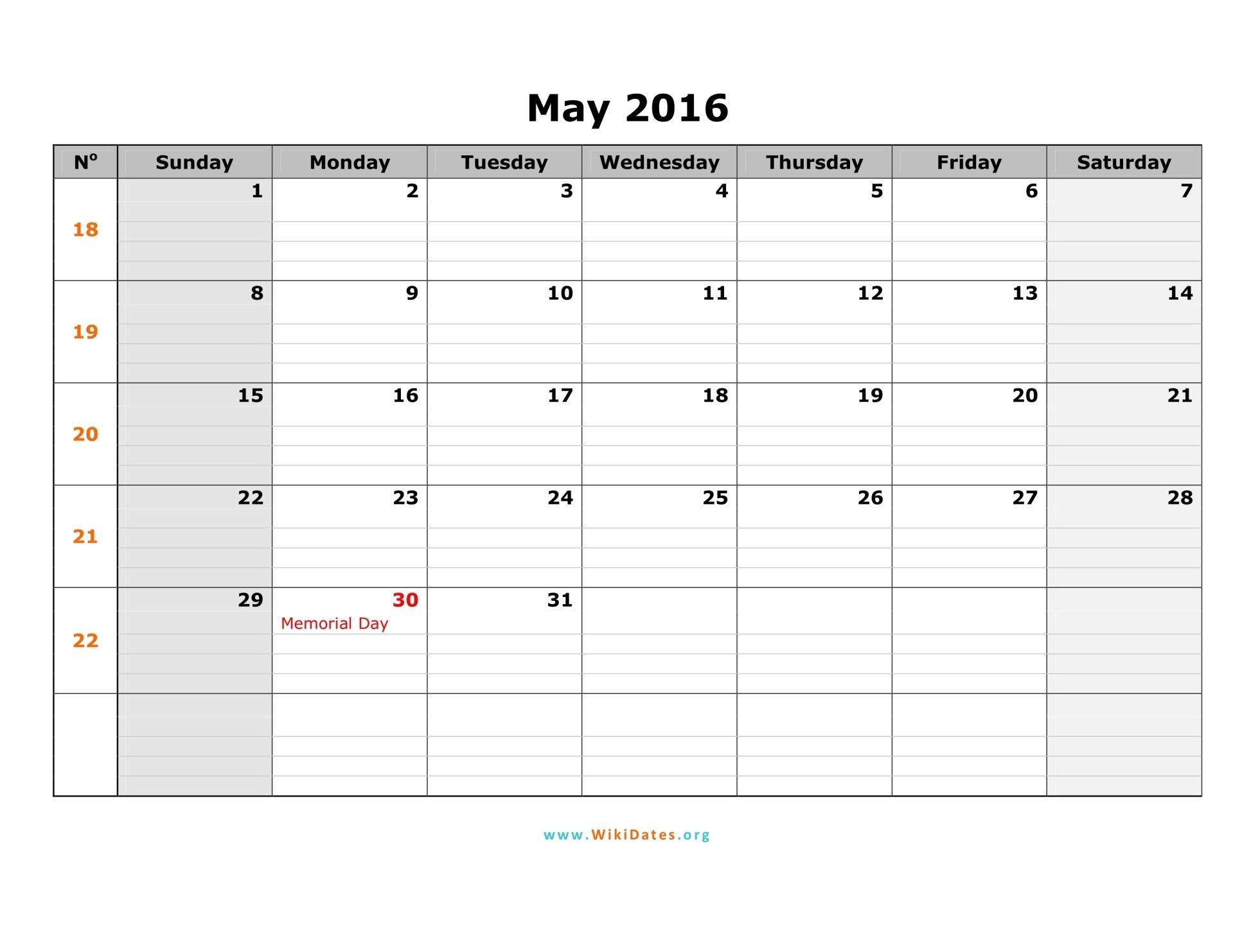 May 2016 Calendar | WikiDates.org