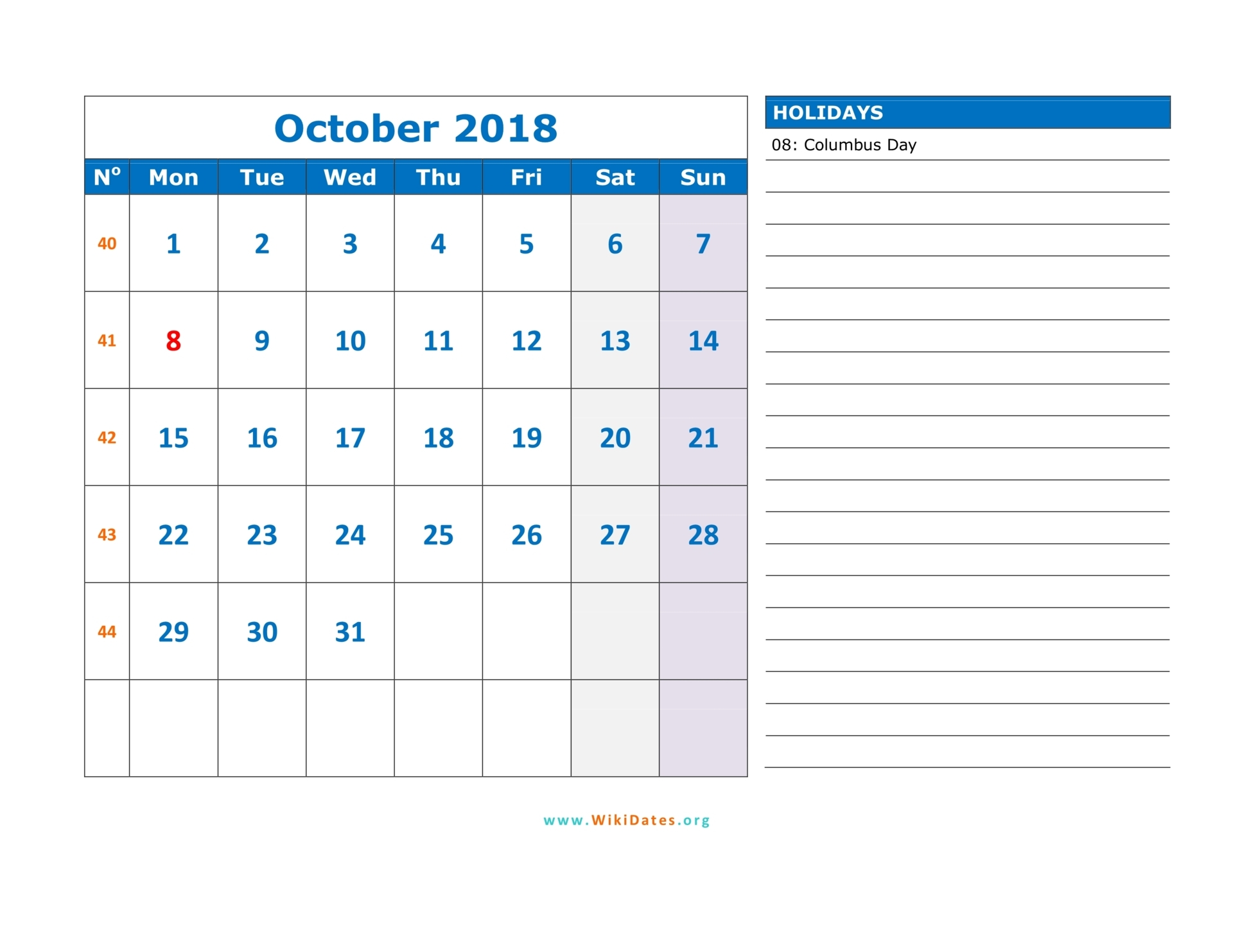 October 2018 Calendar WikiDates Org