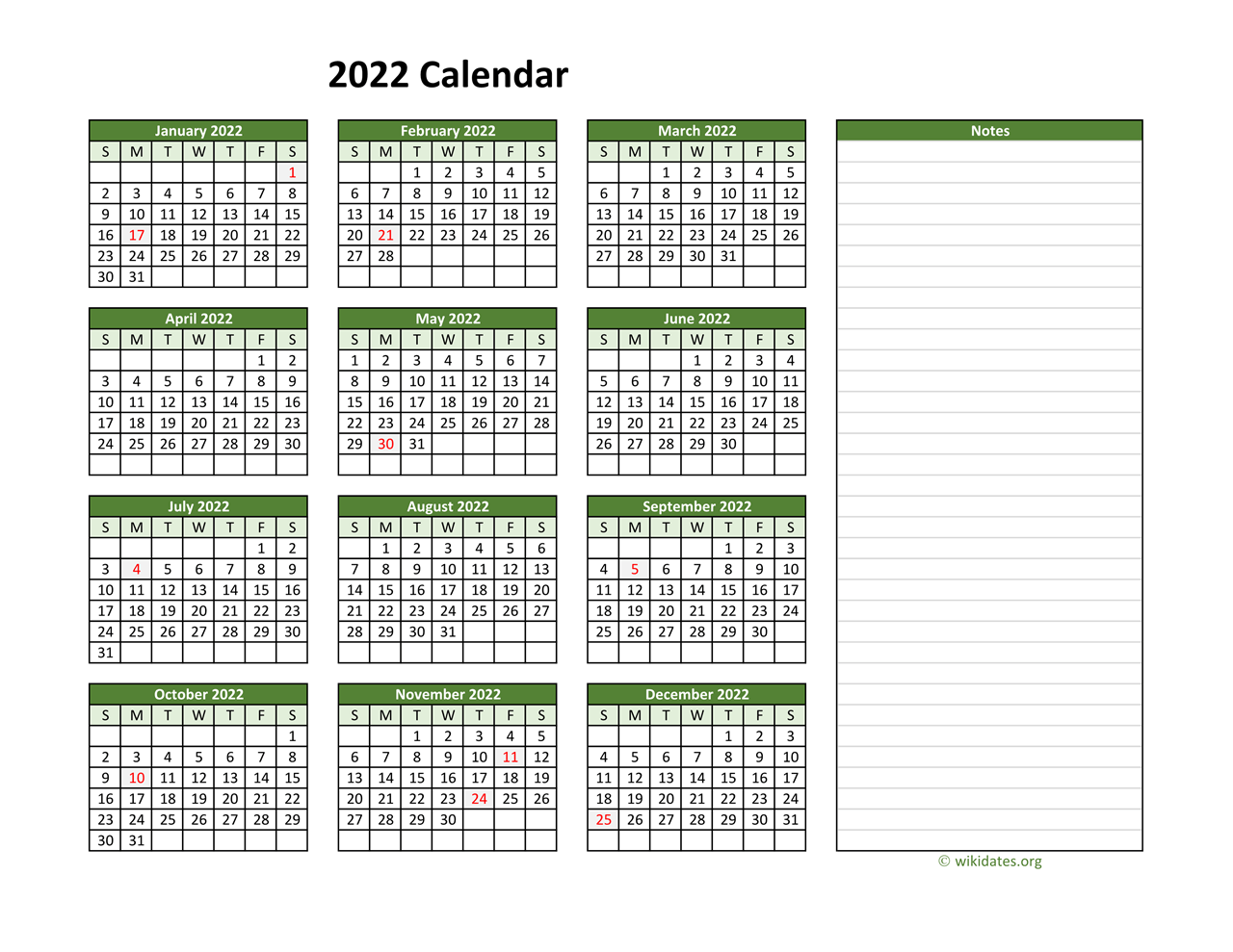 Yearly Printable 2022 Calendar with Notes   WikiDates.org