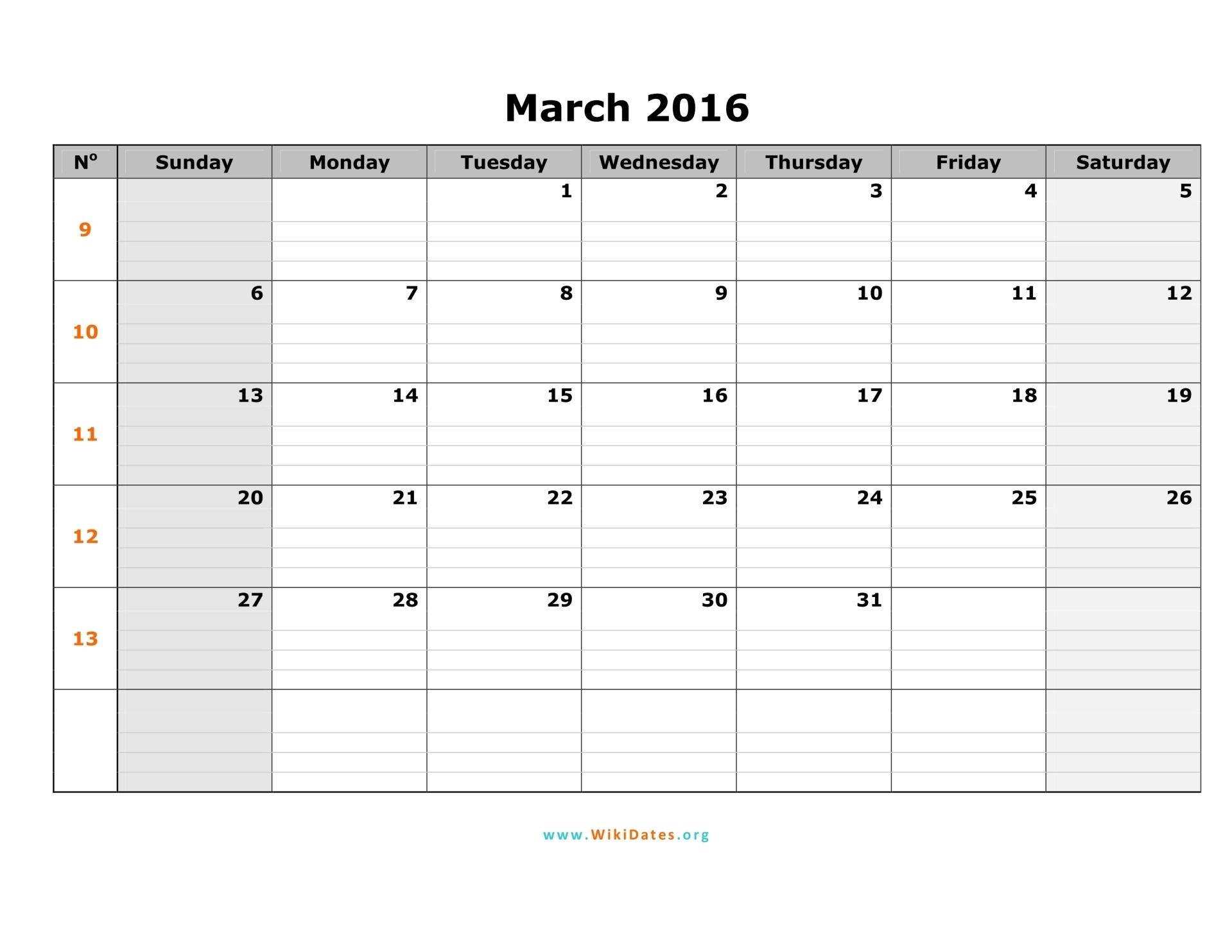 Blank Printable Calendar 2016 Week