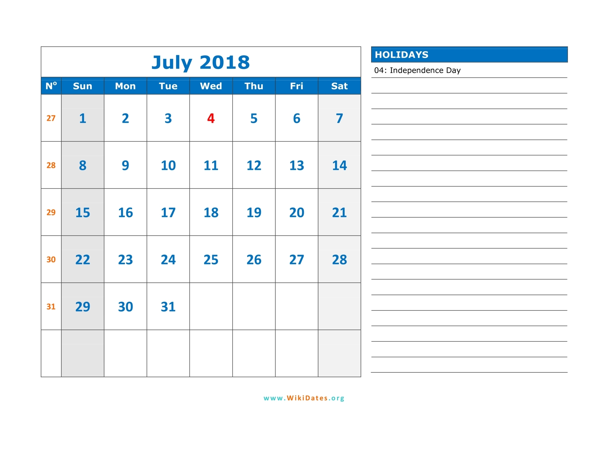 July 2018 Calendar WikiDates Org