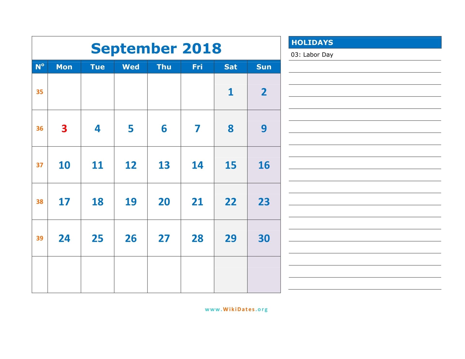 September 2018 Calendar WikiDates Org